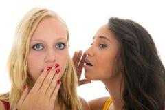 Black and white girls gossip Stock Photo