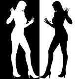 Black And White Girls Silhouette Mirror Royalty Free Stock Photography