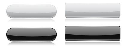 Black and white glass buttons. Oval and rectangle 3d shiny icons vector illustration