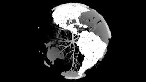 Black and white globe shaped from trees stock video footage
