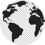 Black and white globe with transparency on seas Royalty Free Stock Images
