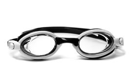 Black and white goggles for swimming. Isolated on white background stock photo