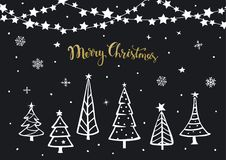 Black white gold merry christmas happy new year background greeting card with xmas cartoon pine trees and hanging on string stars. Black white gold merry Stock Images