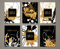 Black, white and gold painted banners set Royalty Free Stock Images