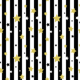Black, white and gold stars seamless patterns. Vector illustration EPS 10 Stock Photo