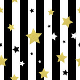 Black, white and gold stars seamless patterns. Vector illustration EPS 10 Stock Image