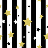 Black, white and gold stars seamless patterns. Vector illustration EPS 10 Stock Illustration
