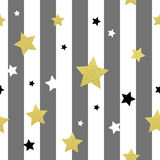 Black, white and gold stars seamless patterns. Vector illustration EPS 10 Royalty Free Stock Images