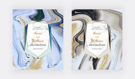 Black, white and golden glitter liquid marble wedding invitation cards. Set ink painting abstract pattern. Trendy backgrounds for. Wallpaper, flyer, poster royalty free stock image