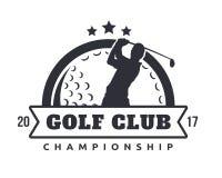 Black And White Golf Badge Logo Illustration