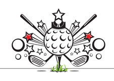Black and white golf illustration. On white background with red stars Royalty Free Stock Photos
