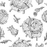 Black and White Gothic Floral Pattern Stock Photos