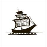 Black&white grafiskt skepp Royaltyfri Illustrationer