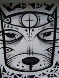 black-and-white-grafitti-of-stylized-cat Stock Image