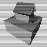 Black and white graphic house diagram. Black and white graphic diagram in form of a detached house Royalty Free Stock Image