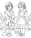 Coloring page with two little school girls. Black and white graphic illustration with two school girls Royalty Free Stock Photo
