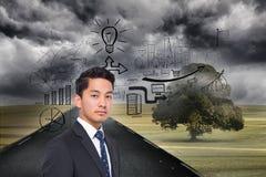 Black white graphic over landscape background Stock Photos