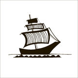 Black&white graphic ship. Vector black&white graphic ship with striped sails Stock Images