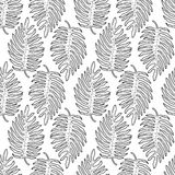 Black and white graphic tropical leaves seamless pattern stock photos