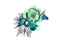 Black-and-white graphics. Watercolor, green, three flowers Royalty Free Stock Photography