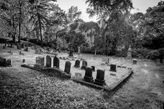 Black and White Grave Markers at an Old Cemetery. Grave markers and headstones, monuments and trees stand in the late afternoon light in an old Cemetery in Stock Images