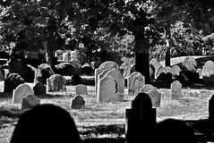 Black and white grave yard royalty free stock photo