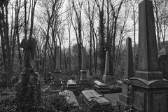 Black and white graves Highgate Cemetery. Graves covered in ivy in the East Cemetery in Highgate Cemetery in London. The East cemetery is set in 9 acres of land Stock Image