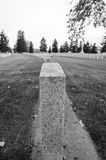 Black and White gravestones. Row of gravestones from the cemetery in black and white Royalty Free Stock Photography