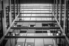 Black and white gray city business center windows stock photos