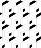 MODERN GEOMETRIC CUBIC SEAMLESS VECTOR PATTERN. CROSSING LINEAR MESH MONOCHROME TEXTURE. HEXAGON POLYGON BACKGROUND stock illustration