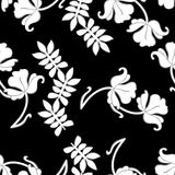 Black, white and gray. On floral seamless vector illustration