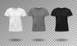 Black, white and gray realistic male t-shirt with short sleeves. Blank t-shirt template isolated. Cotton man shirt. Design. Vector illustration EPS 10 vector illustration