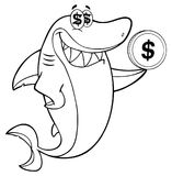 Black And White Greedy Shark Cartoon Mascot Character Holding A Dollar Coin. Illustration Isolated On White Background Stock Image