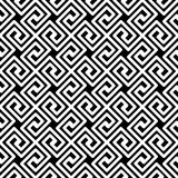 Greek Key Diagonal Seamless Pattern. Black and white greek key fret meander mosaic geometric pattern. Greek lines texture diagonal seamless tile Stock Photo