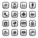 Black and white green, ecology and environment icons Royalty Free Stock Images