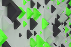 Black, white and green rectangular shapes of random size on whit. E background. Wall of cubes. Abstract background. 3D rendering illustration Royalty Free Stock Photos