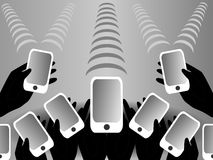 Black, white and grey background mobile phones Stock Photo