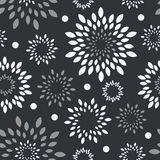 Black white, grey floral background. Monochrome flower vector seamless seamless Royalty Free Stock Photo