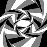 Black, White and Grey Striped Vortex Converging to the Center. Optical Illusion of Depth and Motion Stock Photo