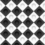 Black and white grid with round holes Stock Photos