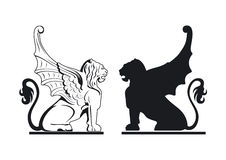 Black and white griffin illustration Stock Photo