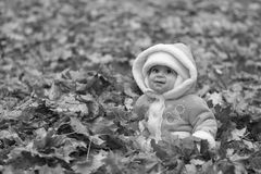 Black and white grinning baby Royalty Free Stock Images