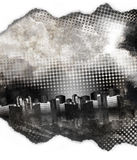 Black and White Grunge City Texture. A dark black and white grunge city with aged texture and dots. There is a paper torn border at the top and bottom. Add your Royalty Free Stock Image