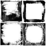 Black and white grunge frames backgrounds. Four black and white grunge frames for your design Stock Photo