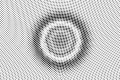 Black on white grunge halftone vector. Grungy dotted texture. Concentrated dotwork gradient. Monochrome halftone. Overlay for cartoon effect. Perforated royalty free illustration