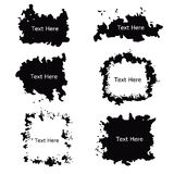 Black and white grunge label frame curly border vector set Stock Photography
