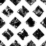 Black and white grunge squares print geometric seamless pattern, vector. Background Stock Photos