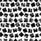 Black and white grunge squares print geometric seamless pattern, vector. Background Stock Images