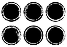 Black and white grunge stamp Insignia Round Circle banners. Post. Seal Collection. Icons. Labels. distress textures. Vector illustration Royalty Free Stock Photo