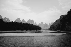 Black and white Guilin hills Royalty Free Stock Images